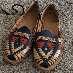 Mexican guarache mocassin sandals slip on